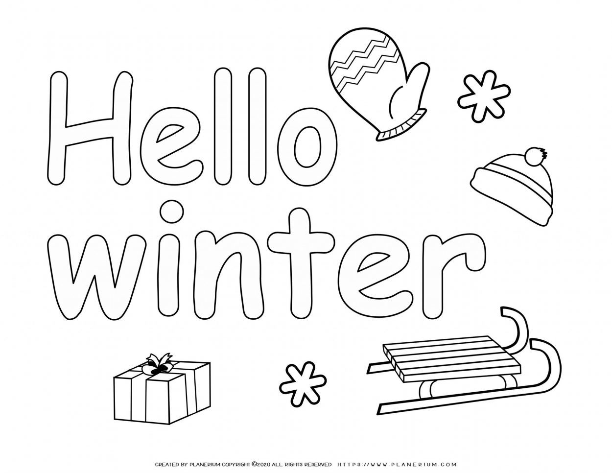 Winter Coloring Page - Hello Winter   Planerium
