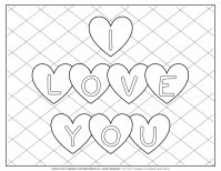 Valentines Day Coloring Page - I Love You Hearts