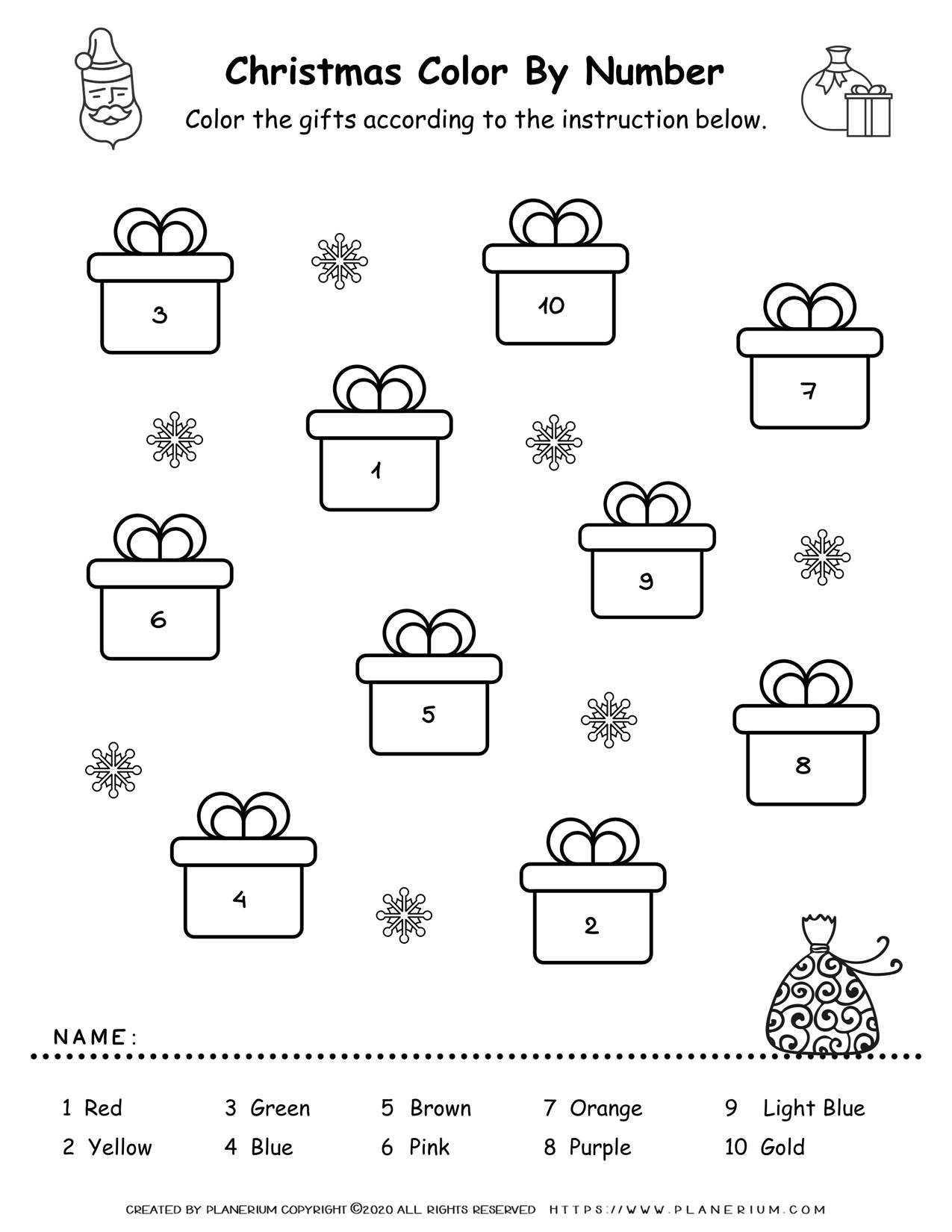 Christmas Color By Number - Gift Boxes   Free Printables   Planerium