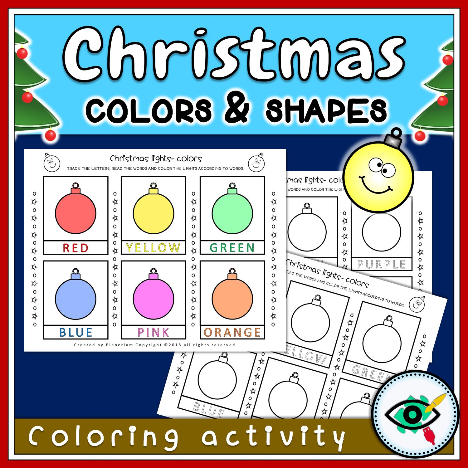 Christmas Coloring Activity - Shapes and Lights - Featured 2 | Planerium