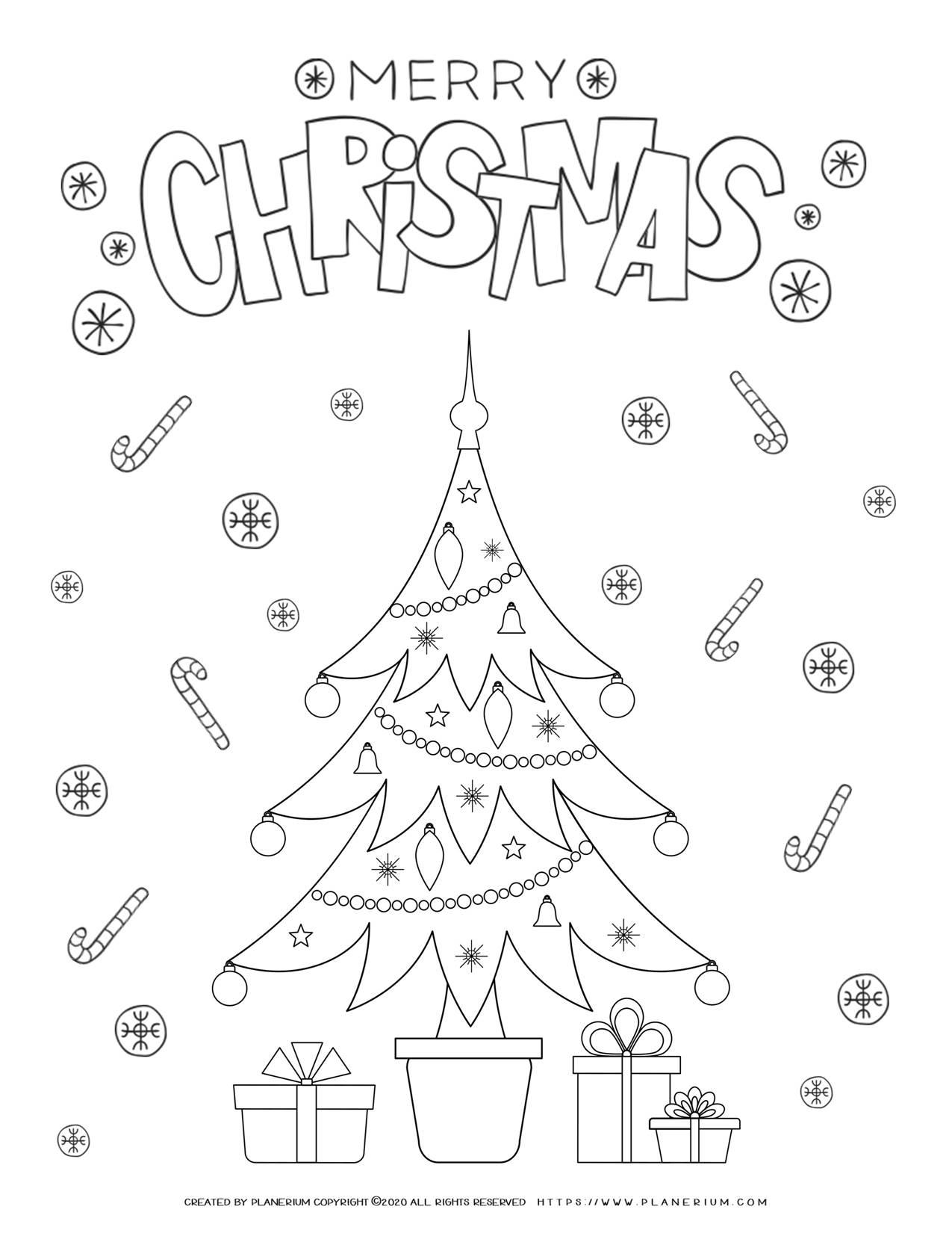 Christmas Tree Coloring Page   Free Printables   Planerium