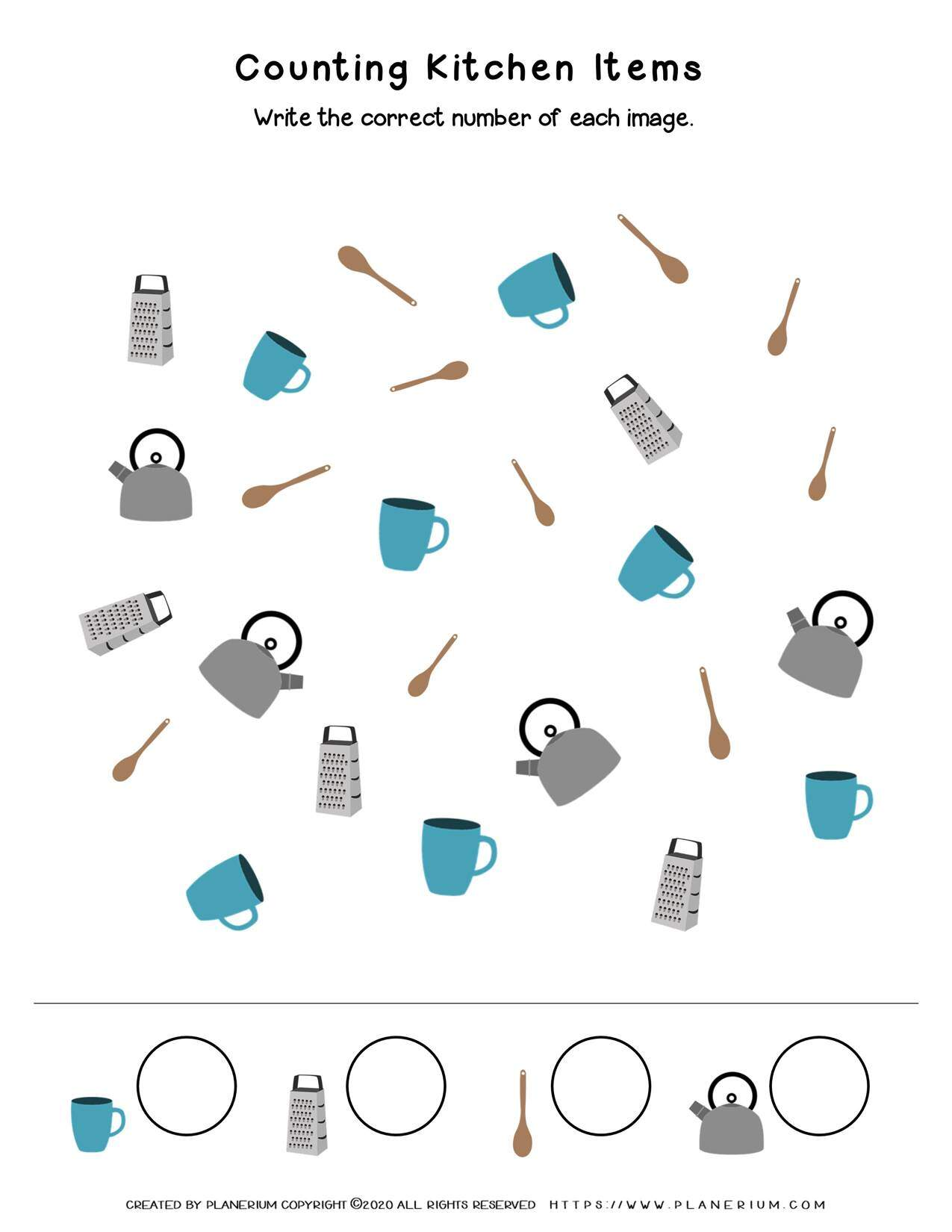 My Home - Worksheet - Counting Kitchen Items   Planerium