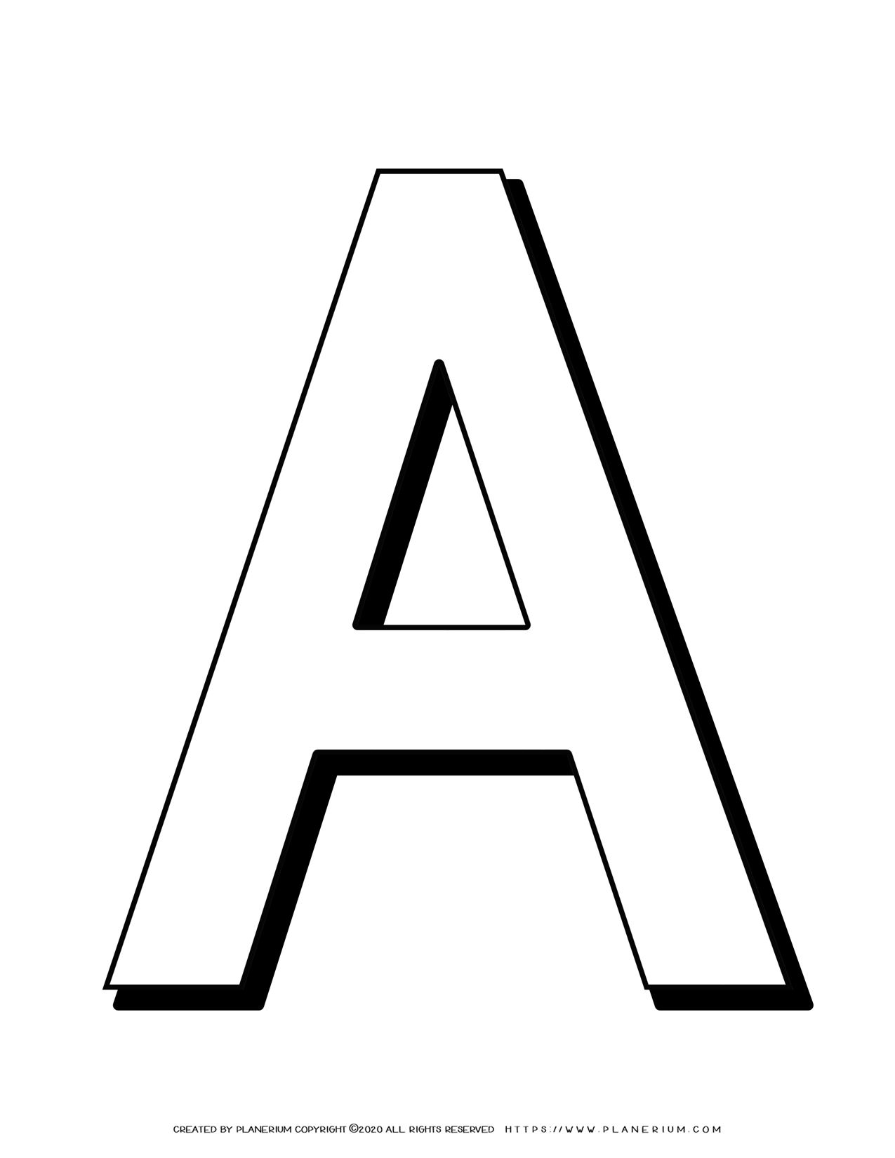 Alphabet Coloring Pages - English Letters - Capital A | Planerium