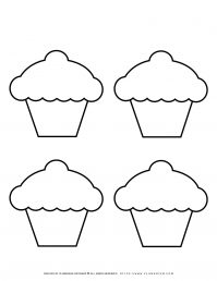 Four Cupcakes Outline   Planerium